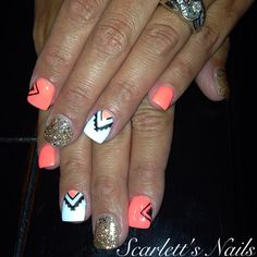 Neon pink gold glitter black and white tribal aztec summer gel nails #scarlettsnails