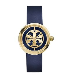 Tory Burch Reva Watch, Navy Leather & gold-tone