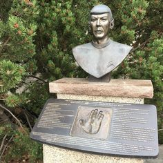 The bronze statue of Spock and handprint of Leonard Nimoy in Vulcan, Alberta. Official Star Trek Capital of Canada. #canada