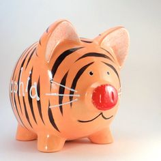 Tiger Piggy Bank Personalized Tiger Bank Jungle by ThePigPen Safari Theme Nursery, Jungle Theme, Nursery Themes, Large Piggy Bank, Very Small Dogs, Personalized Piggy Bank, Paper Mache Animals, Mini Pigs, Cute Piggies