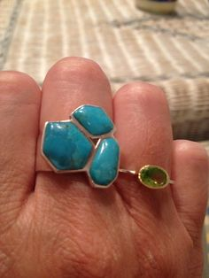 Saw that turquoise ring in the beginning of the summer, but thought I could find it cheaper online. WRONG. Couldn't even find it online. Glad it was still there at the end of summer.   Lesson learned: If you fall in love, get it.