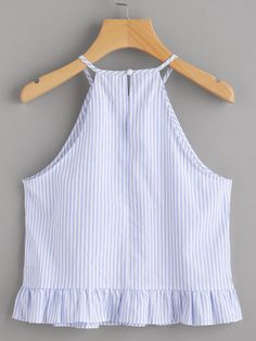 Online shopping for Buttoned Keyhole Back Frill Striped Halter Top from a great selection of women's fashion clothing & more at MakeMeChic. Classy Outfits, Pretty Outfits, Cool Outfits, Summer Fashion Outfits, Girl Fashion, Blouse Styles, Clothes, Online Shopping, Romantic Dresses