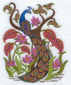 Paisley Peacock w Floral Embroidered Cotton Terry by VelvetHearts, $26.00