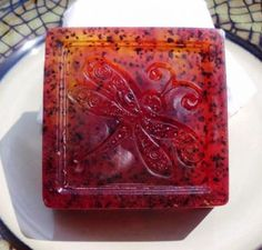 Fiery Frangipani Olive Oil Soap, Blueberry Seed Exfoliant by BlackWillowSoaps for $12.69