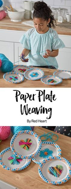 Paper Plate Weaving free craft pattern in Super Saver yarn.Paper Plate Weaving free craft pattern in Super Saver yarn. Practice weaving without breaking the bank with this classic craft! Camping Activites For Kids, Summer Camp Activities, Camping Crafts, Craft Activities, Camping Ideas, Fun Activities With Kids, School Age Activities, Children Activities, Diy Camping