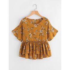 8b843ebc41fce SheIn(sheinside) Calico Print Frill Hem Babydoll Blouse featuring polyvore  women s fashion clothing tops