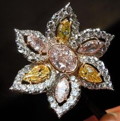 Uber Pink Yellow Flower Halo Diamond Ring by Diamonds by Lauren at CustomMade.com