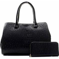 7c51f422d979 Women s Handbags  Handbag Inc Ostrich Vegan Leather Kisslock Shoulder  Handbag and Wallet (Black)
