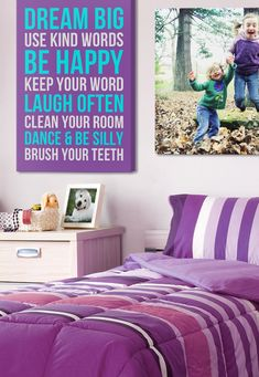 Customizable wall art for your daughter's purple, blue, or even pink room. Vary up the colors for the bus roll, and pair this with your favorite photo-to-canvas to hang beside.