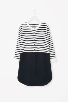 COS image 2 of Striped dress with silk skirt in Navy