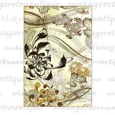 Japanese Flower Design Printable Digital Graphic Image Color