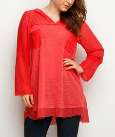 Look at this #zulilyfind! Coral Lace-Panel Hooded Tunic - Plus #zulilyfinds