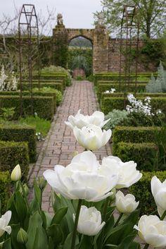 The White Garden,Sissinghurst Castle in the Weald of Kent,England. Porch Garden, Moon Garden, Unique Gardens, Beautiful Gardens, Photos Voyages, Cottage, White Gardens, Spring Is Here, Green Garden