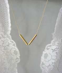 gold bar necklaceValentine gift simple everyday jewelry by Laliv, $32.00