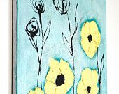 Yellow Flowers (Custom Made to Order) - Acrylic Mixed Media Painting - 20in by 16in