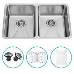 VIGO 29-inch Undermount Stainless Steel 16 Gauge Double Bowl Kitchen Sink, Grids, and Strainers