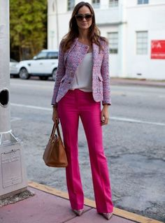 Sensational bright outfit for work.