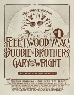 Fleetwood Mac Poster - Rock posters, concert posters, and vintage posters from the Fillmore, Fillmore East, Winterland, Grande Ballroom, Armadillo World Headquarters, The Ark, The Bank, Kaleidoscope Club, Shrine Auditorium and Avalon Ballroom.