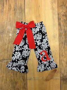Girls Valentine Ruffle Pants, Capris, or knee shorts with fabric bow detail. Black white Damask and Red fabric bow. By EverythingSorella. on Etsy