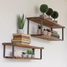 Wood And Metal Shelves, Floating Shelves Kitchen, Kitchen Shelves, Wood Shelf, Glass Shelves, Metal Shelving, Modern Floating Shelves, Living Room Shelves, Shelves In Bedroom