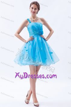 Fabulous A-line One Shoulder Appliqued Junior Prom Dresses in Baby Blue
