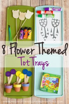 Flower Themed Tot Trays