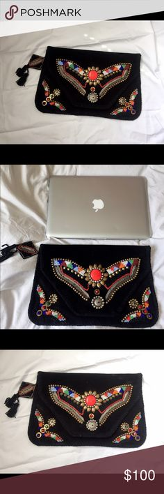Antik Batik black embellished clutch About 13.5 inches wide (see photo comparison with a 13inch Mac Book Pro). No flaws. Great condition. Never used Antik Batik Bags Clutches & Wristlets