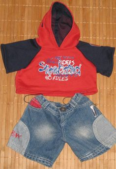 251a16b0025 Build A Bear Clothing Red Blue Snowboad Hoodie Shirt Blue Jeans Outfit  AllOccasion  Bear Clothing