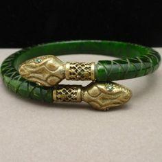Carved Bakelite Bangle Bracelet with 2 Snake Heads Vintage A+ | eBay