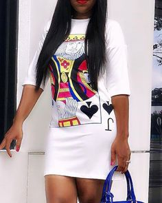 chicme / Poker-Face Print Casual T-Shirt Dress Casual T Shirt Dress, Casual T Shirts, Beautiful Casual Dresses, Bodycon Dress With Sleeves, Womens Fashion Online, Buy Dress, Half Sleeves, Pattern Fashion, Fashion Dresses