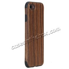 ROCK Element Series Wood Slice  TPU Back Case Cover for iPhone 7 4.7 inch - Red…