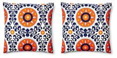 S/2 Suzani 20x20 Cotton Pillows, Orange | Double Up | One Kings Lane @Caroline Ball