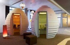 Brainstorming pods and other break areas scattered throughout the building give employees a place to go if they need to take time to relax or allow creativity to flow.