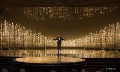 Seth MacFarlane hosts The Oscars® from the Dolby® Theatre Stage Set Design, Church Stage Design, Theatre Design, Conception Scénique, Christmas Stage Design, Stage Background, Wedding Stage Decorations, Backdrop Design, Scenic Design