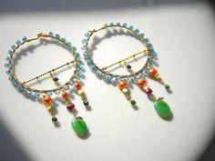Japanese Jewelry Designer/  Dangling Hoop Earrings by OstaraTokyo, $65.00