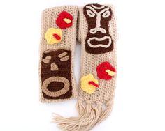 Tiki crochet scarf Hawaiian inspired scarf by MsAmandaJayne, $70.00