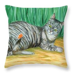 "A Cat And A Butterfly Throw Pillow 14"" x 14"""