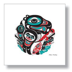 "$150.00 ""Going to the Potlatch"", Eagle paddling her canoe to a memorial celebration. 12X12 Giclée Print  Northwest Native American design by Israel Shotridge     #Eagle #Canoe #Paddle #Bear #Potlatch  #NativeArt #Alaska #Tlingit #Giclee #NativeAmerican"