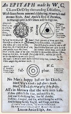 Poems and alchemical symbols William Cooper, The Philosophical Epitaph of W. C. Esquire. 1673. https://www.flickr.com/photos/chemheritage/3253539940/sizes/o/