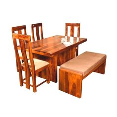 Get Dining Table Set Online: Quality Item @ Best Price Dining Table Set Designs, Wooden Dining Table Set, Dining Table Online, Luxury Dining Tables, Solid Wood Dining Set, Spine Care, Wood Wax, Natural Brown, Home Decor Items