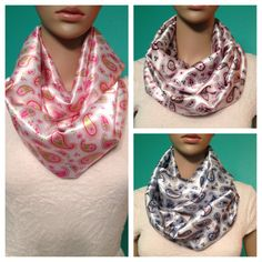 Satin paisley infinity scarves in hot pink-lime green, grey-silver-baby blue, and grey-silver-pink, by Beckysscarfshop, $15.00 Paisley Scarves, Baby Blue, Alexander Mcqueen Scarf, Infinity, Hot Pink, Lime, Satin, Trending Outfits, Grey