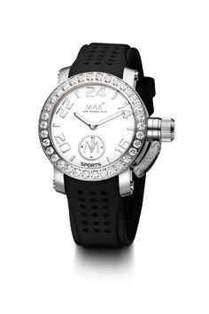 #MaxXLWatches Reference: 5-max549 Sport               Movement: Quartz movement             Diameter: 36 mm                                      Water rsistence: 50m                               Description: Stainless steel case, Bezel set with AAA grade white cubic Zirconia, mineral glass, White dial.                                               Strap: Black rubber strap. Available at www.chronowatchcompany.com