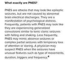 Psychogenic Non-Epileptic Seizures Epilepsy Seizure, Epilepsy Awareness, Seizures Non Epileptic, Conversion Disorder, Mind Over Body, Ptsd Recovery, Seizure Disorder, Traumatic Brain Injury, Invisible Illness