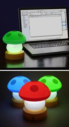 Mario want to illuminate his workspace with these super cute Mushroom Lamps. The red lamp makes Mario sit a little taller and the green lamp gives him the energy needed to power through until the weekend. If you put them on your desk, they may do the same for you!