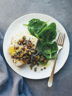 Braised Tuna with Olive Relish and Spinach