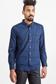 SATURDAYS - Crosby Striped Shirt Navy