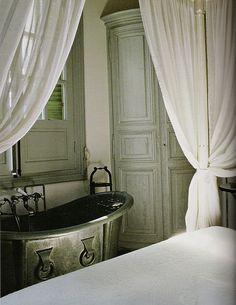 Design Daily - Axel Vervoordt - Bed and Bath Romantic Bath, Le Logis, Axel Vervoordt, Paris Apartments, French Decor, Beautiful Bathrooms, Beautiful Interiors, Soft Furnishings, Decoration