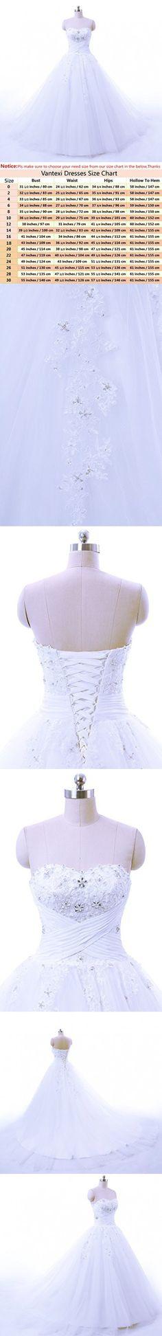 Vantexi Women's Strapless Chapel Train Ball Gown Wedding Dress White Size 2