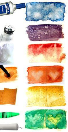 Акварельные эффекты. Шпаргалка   1. Алкоголь дает разводы 2. Соль создает песчаный эффект 3. Салфетка на полувысохшую акварель - размытость.  4. Использование фигур из клейкой пленки 5. Наждачная бумага по высохшей поверхности - потертости 6. Восковый мелок или свеча - место нанесения останется неокрашенным.