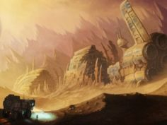 """This is a shot of an older famous spaceship wreck, one of many found in this film. What makes this """"wreck"""" famous? Because it is of a commercial ship that had served on many famous missions for the white race. This concept art of a spaceship """"wreck"""" is similar to the 2000's Planet of the Apes wreck, but that one was not supposed to happened because space stations are a """" women's"""" ship. But this """"wreck"""" should be more in a working shape, just like 2000's Planet of the Apes. Crashed spaceships"""
